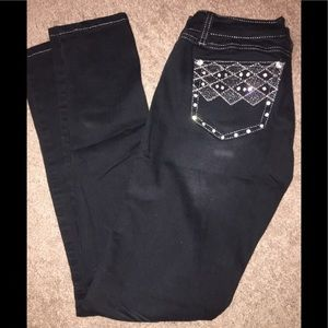 Black Size 5 Straight Legged with Bling Jeans.